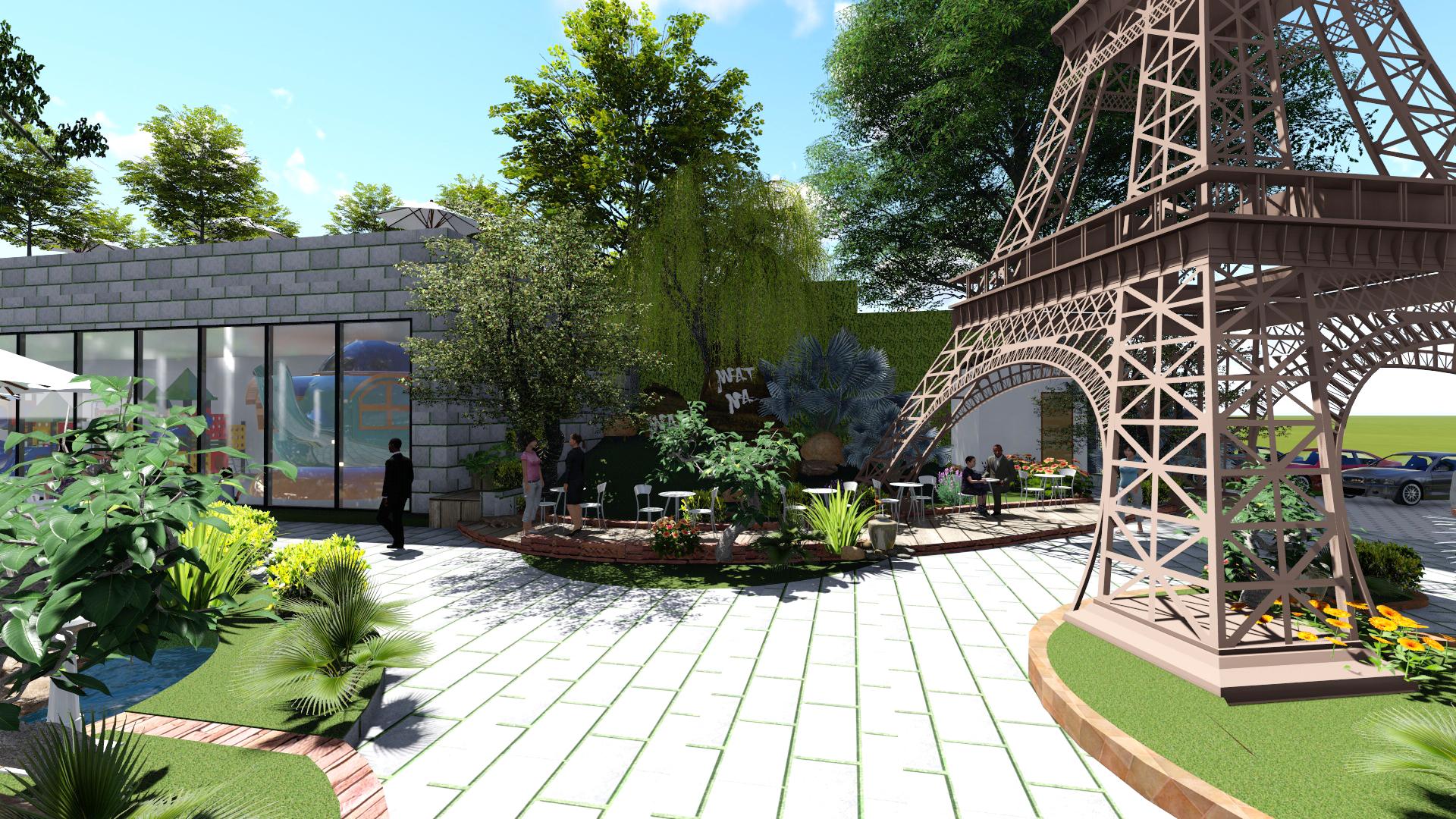 Thiết kế quán cafe sân vườn tại Hóc Môn