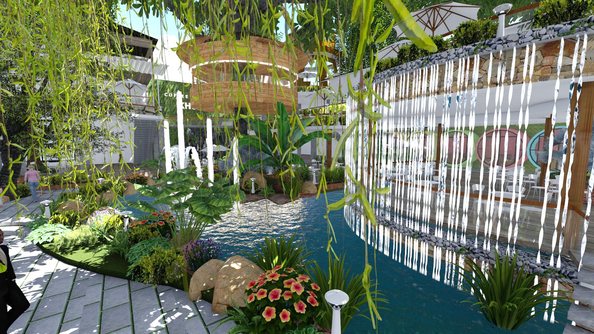 Thiết kế quán cafe sân vườn tại tân bình (2)