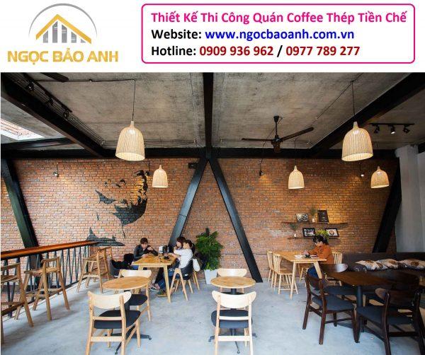 Khung thép quán cafe