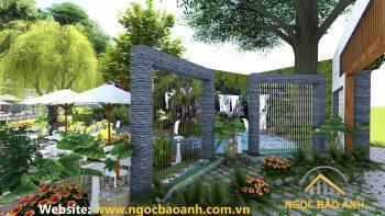 thiết kế quán cafe vườn