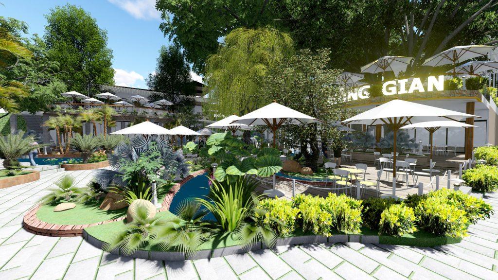 Thiết kế quán cafe sân vườn Miền Tây