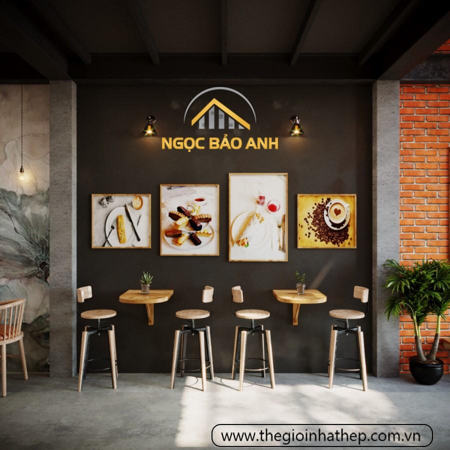 decor quán cafe tiền chế